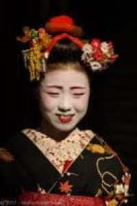 A young Maiko wearing her Kuromon Tsuki kimono