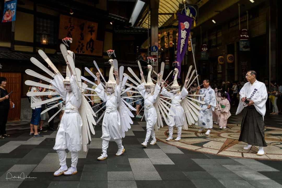 Sagi Odori (Heron dance) during the Hanagasa Junko Procession, Gion Matsuri, Kyoto