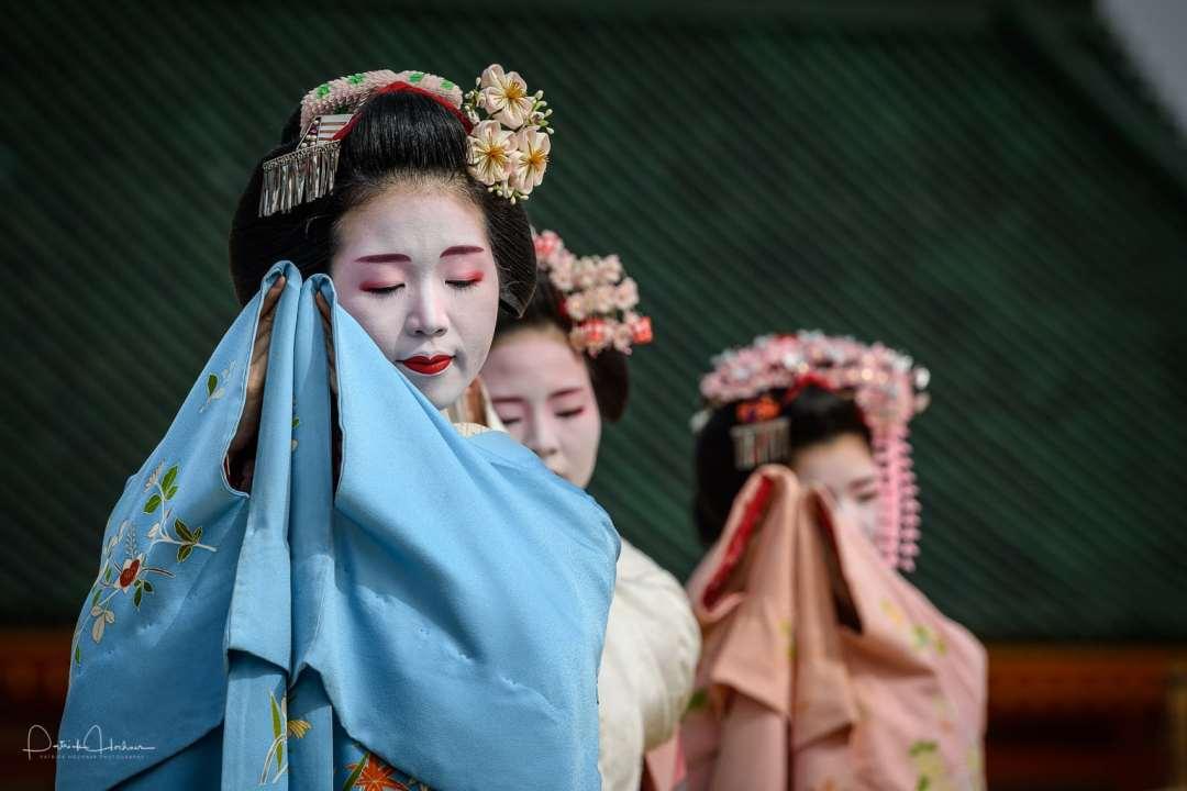 Maiko Tomitsuyu of Gion Higashi dancing at the Heian Shrine Reisai Annual Festival, Kyoto