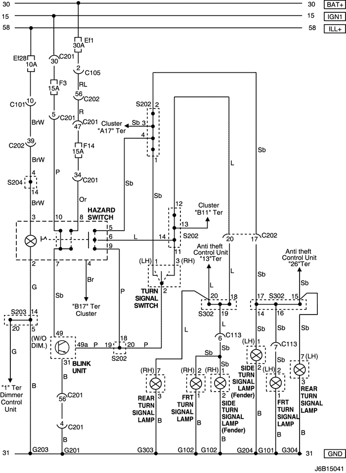 Electrical Wiring Diagram 2006 Nubira-Lacetti 14. HAZARD