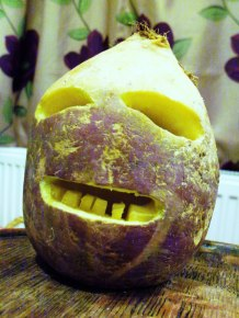 Modern carving of a Cornish Jack-o'-Lantern made from a turnip