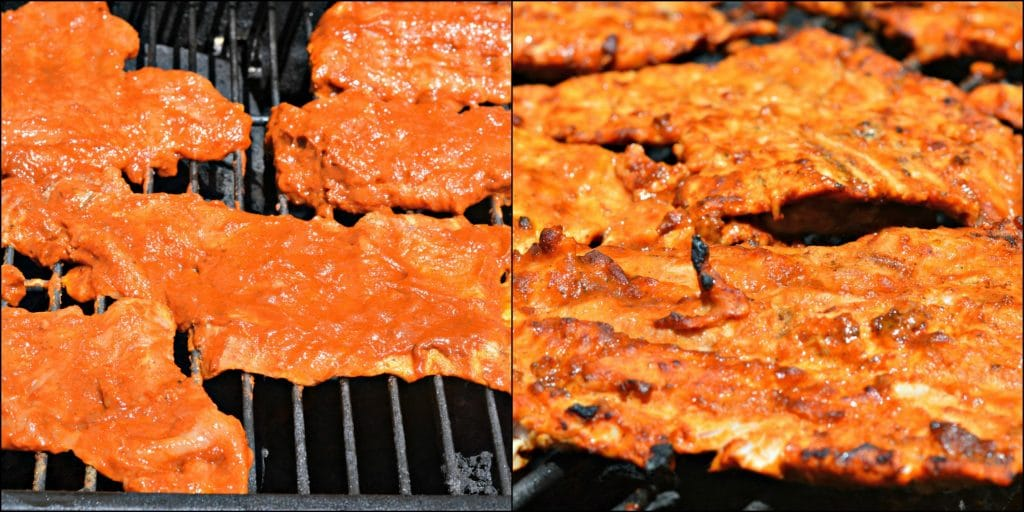 Tacos Al Pastor on Grill before and after