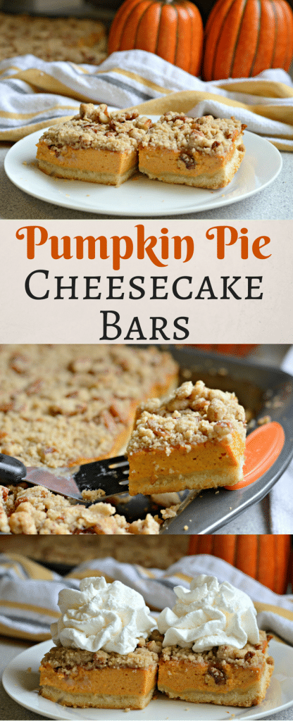 These Pumpkin Pie Cheesecake Bars are perfect for this time of year and can serve a large crowd. They are easy to make too! Check them out now!