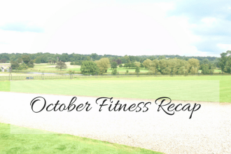 Title picture for October Fitness Recap on the blog My Lavender Tinted World. The picture shows the title text overlayed on a landscape picture of the grounds at Keddleston Hall.