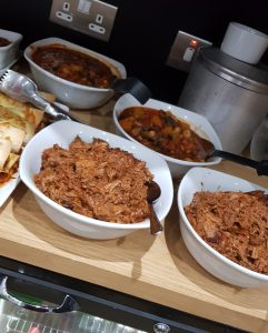 Pulled pork fajita filling and 3 bean chili which was served as part of the free food at the FDVIPs Steps event