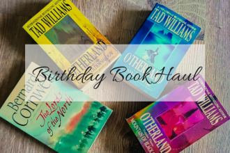 Birthday book haul title picture showing all 4 books mentioned in the blog post