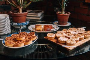 A photo of key lime pie, pecan pie and mixed gluten free, and dairy free desserts at the Viking Arty Party. Photo taken by Elouisa Photography and displayed on My Lavender Tinted World