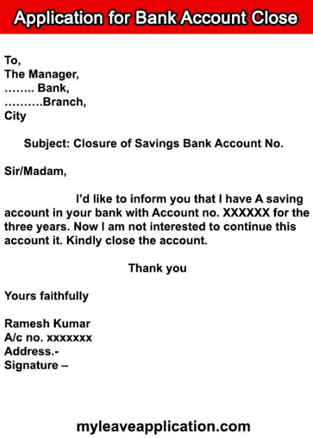 Bank Account Closing Letter Format After Death : account, closing, letter, format, after, death, Application, Account, Closure