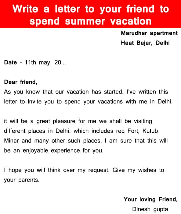 write a letter to your friend to spend