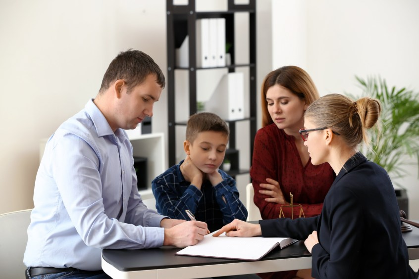 family meeting with attorney to obtain child support