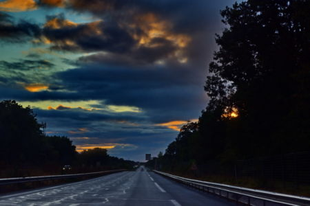On the road at sunset, from Niort to La Rochelle, France