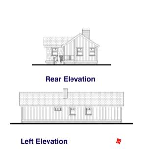 Rear, Left Elevation Plans-Custom Small House | High River, Alberta Canada