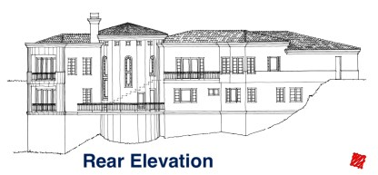 Custom Mediterranean Hillside Home Design-Sea Pointe Estates-Rear Elevation