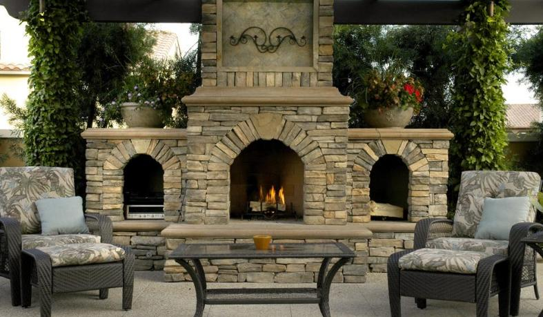 Eldorado Stone-Outdoor Patio Firplace