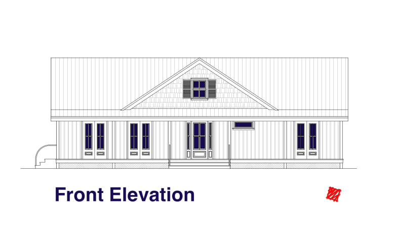 Lowcountry Custom Home design 03 HH-Elevations-Front