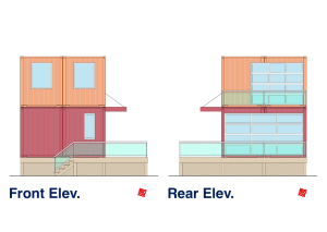 Myles Nelson McKenzie Design-Custom Metal Container Home-2 Story-Front-Rear Elevation
