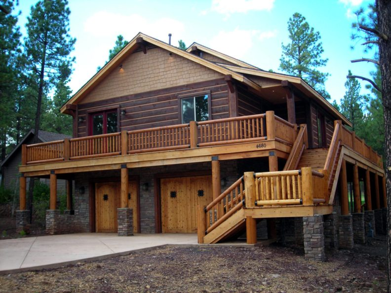 Custom Square Log Mountain Home