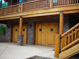 Myles Nelson McKenzie Design-Custom Square Log Mountain Home Design-Front Elevation Garage Doors, Flagstaff, Arizona