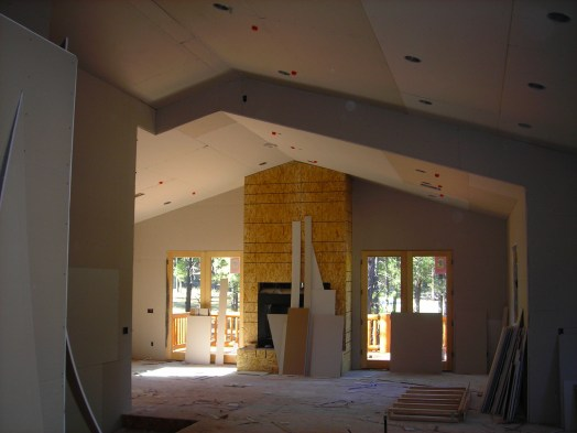 Myles Nelson McKenzie Design-Custom Square Log Mountain Home-Great Room Drywall