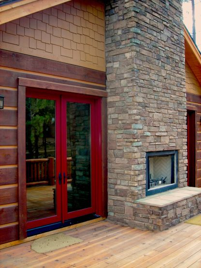 Myles Nelson McKenzie Design-Custom Square Log Mountain Home-Rear French Doors