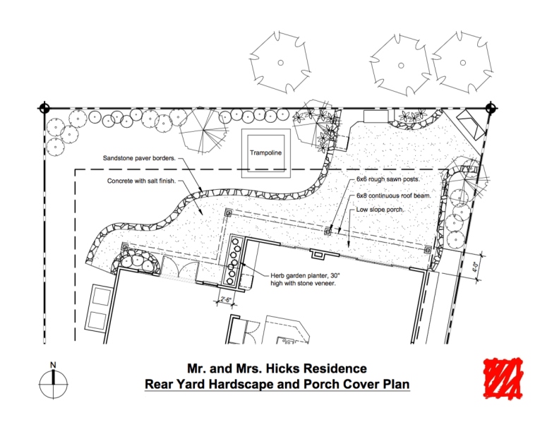 A rear yard hardscape plan.