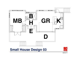 Myles Nelson McKenzie Design-Small House Design, Vacation Home-03 646 SF-Floor Plan