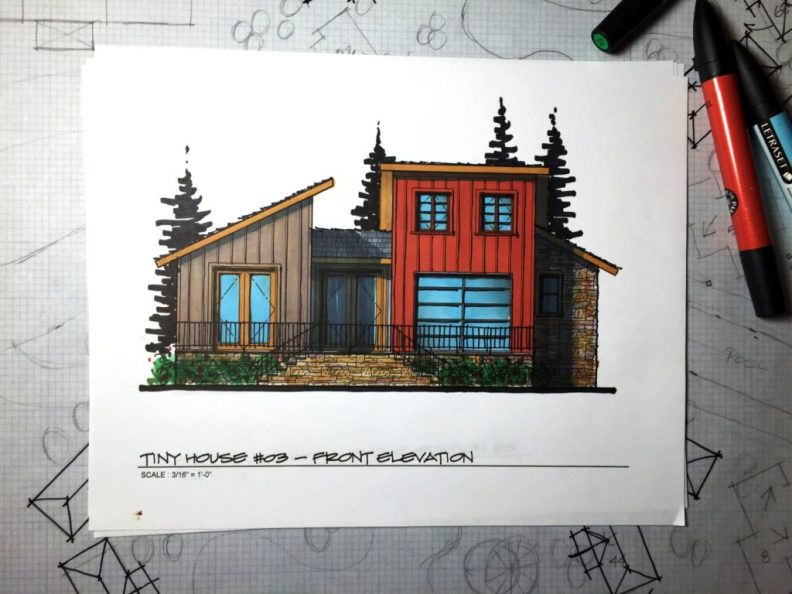 Myles Nelson McKenzie Design-Small House Design, Vacation Home-03 646 SF-Rendered Front Elevation