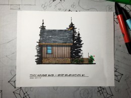 Myles Nelson McKenzie Design-Small House Design, Vacation Home-03 646 SF-Rendered Left-Elevation