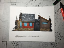 Myles Nelson McKenzie Design-Small House Design, Vacation Home-03 646 SF-Rendered Rear-Elevation