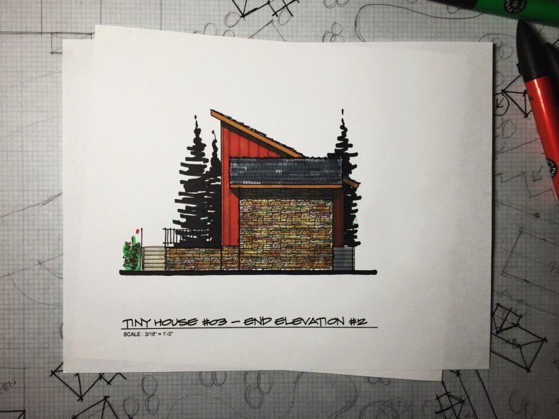 Myles Nelson McKenzie Design-Small House Design, Vacation Home-03 646 SF-Rendered Right-Elevation