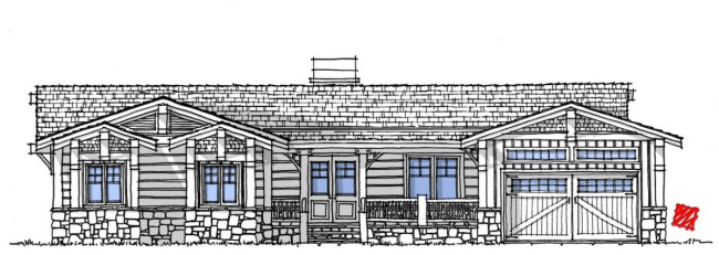 Myles Nelson McKenzie Design-EHP 201-Rustic Mountain Front Custom Home Elevation