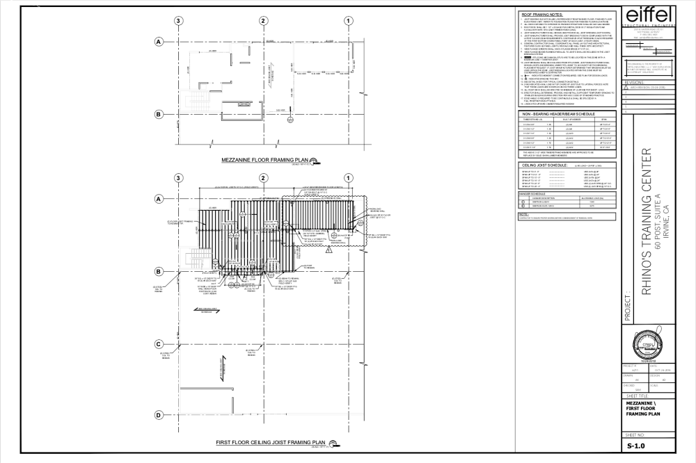 Eiffel Industries Structural Design-Rhino-Floor, Ceiling Framing Plans
