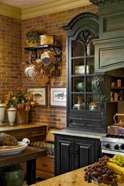 Custom Kitchen Design with Brick Interior Wall