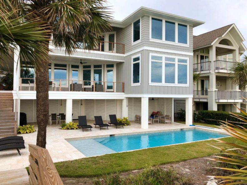 Beachfront vacation home design-Completed rear exterior elevation and pool patio-Hilton Head Island, South Carolina.