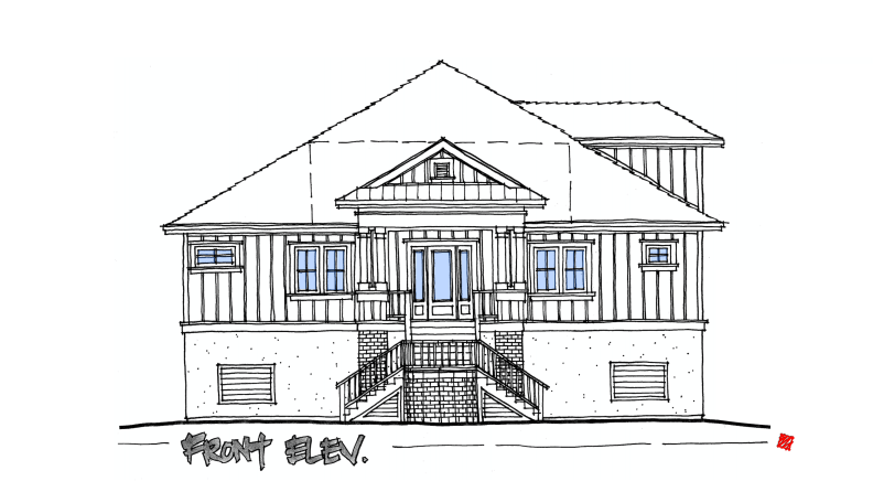 A New Lowcountry Custom Home Design-Front Exterior Elevation Concept-St. Helena Island, South Carolina