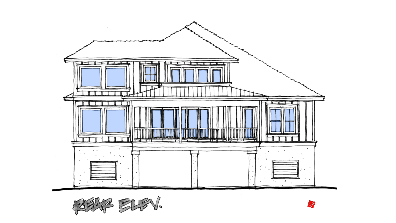 Lowcountry Custom Home Rear Exterior Elevations Concept-St. Helena Island, South Carolina