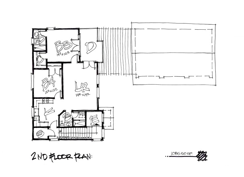 Los Angeles Duplex Residence Design-2nd Floor Plan by Myles Nelson McKenzie Design in Newport Beach, California.