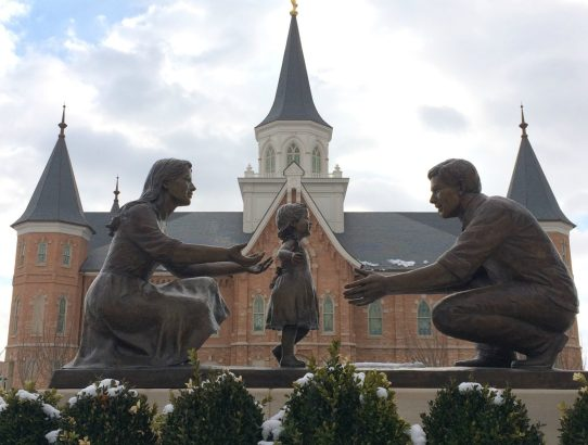 """The story behind the statue in front of the Provo City Center Temple, it is named """"In The Family Circle"""" But the artist said to him it is """"Melissa Walks""""..."""
