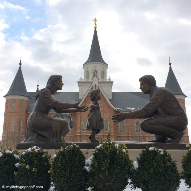 "The story behind the statue in front of the Provo City Center Temple, it is named ""In The Family Circle"" But the artist said to him it is ""Melissa Walks""..."