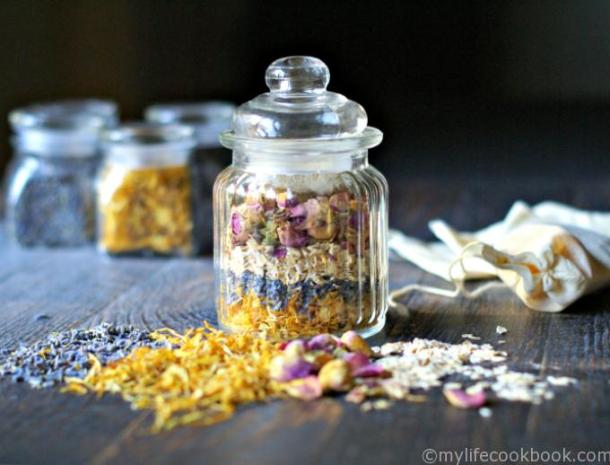 Herbal bath tea jars are both beautiful and useful. Give as a gift or use for yourself and take a relaxing bath.