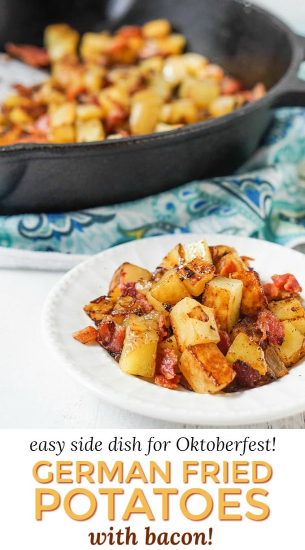white plate with German fried potatoes with bacon and cast iron skillet with text overlay
