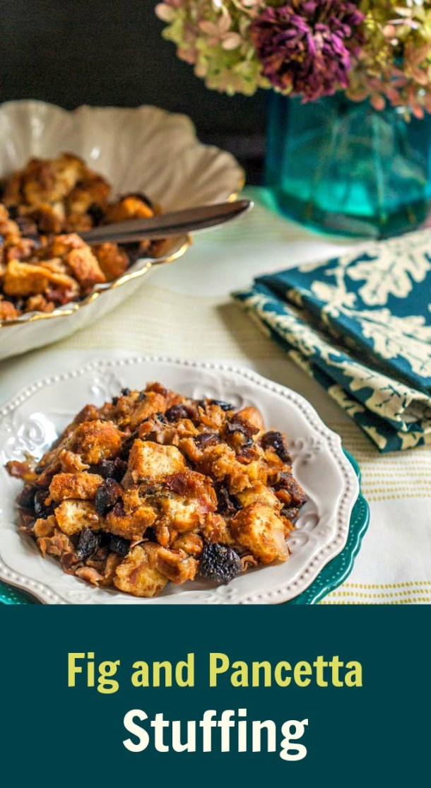 This fig and pancetta stuffing is an easy yet delicious side dish that is perfect for the holidays.