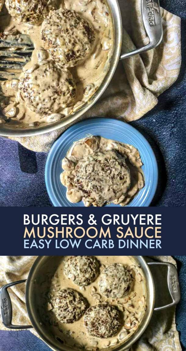 These burgers & gruyere mushroom saucemake for a delicious low carb dinner you can have any nightof the week. Only 4.8g net carbs per serving.