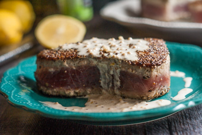 Peppered Tuna Steak Recipe with Lemon Dijon Cream Sauce ...