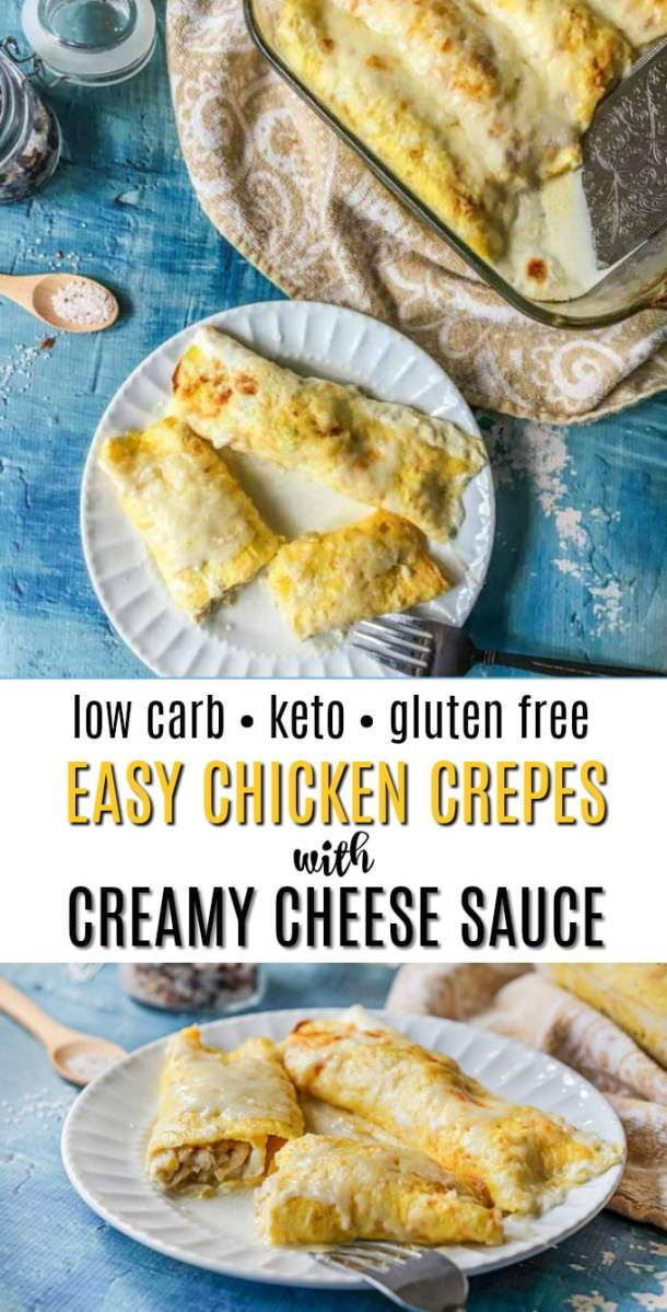 white plate with low carb chicken crepes and baking dish and text overlay