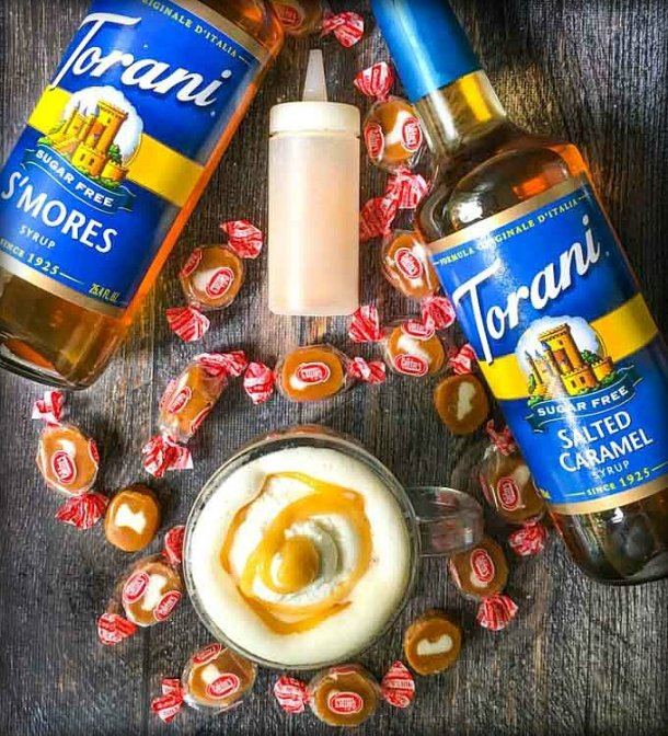 aerial view of low carb coffee drink, Torani sugar free syrups, caramel cream candies and caramel sauce