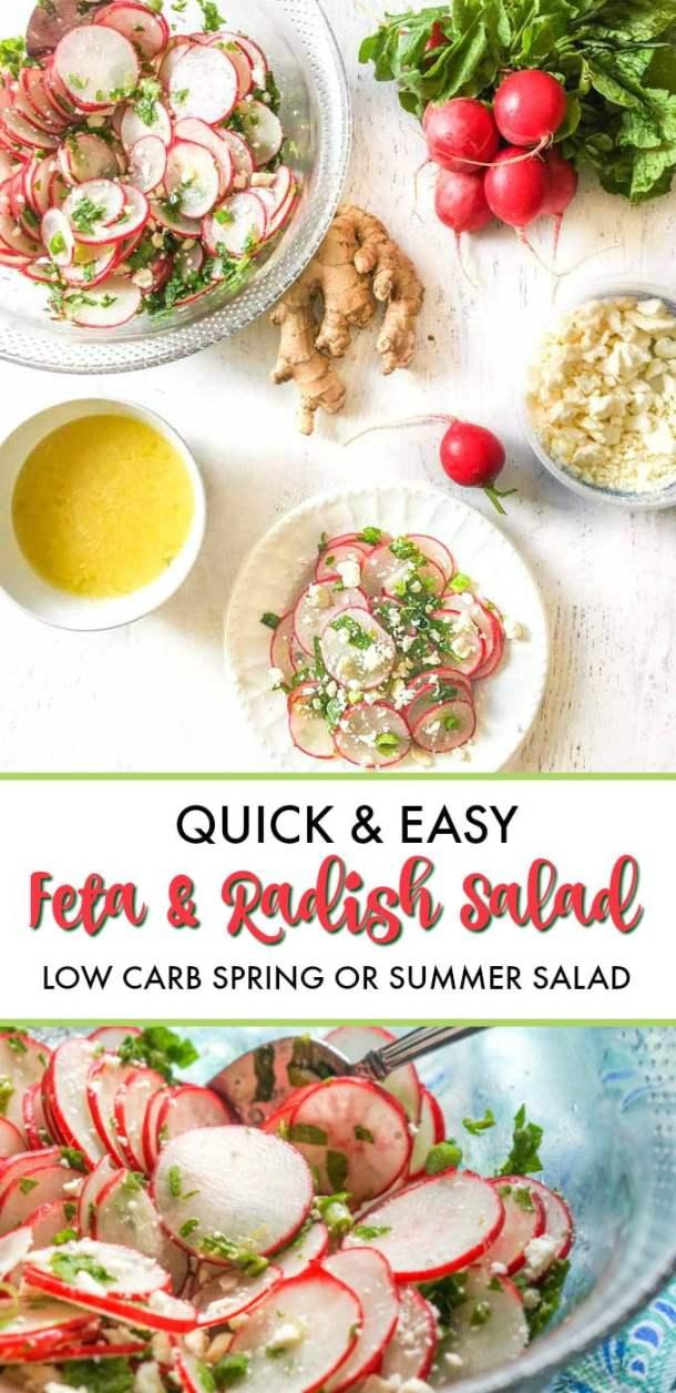 bowls and plates of radish salad and text overlay