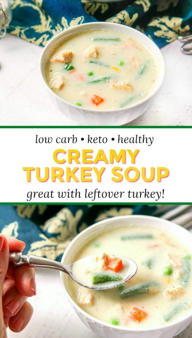 white bowl with low carb creamy turkey soup and text overlay