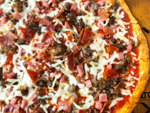 closeup of meat lover's low carb pizza