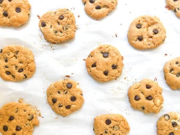 baked peanut butter cookies on parchment paper